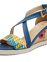 Women's Shoes Synthetic Wedge Heel Peep Toe Sandals Casual Blue/Red/Khaki