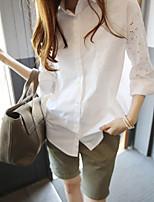 Vierkante hals - Katoen - Uitgesneden - Vrouwen - Overhemd - Lange mouw
