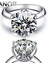 YANOR 5 Carat Six Claw 925 Silver  Platinum Plated SONA Diamond Ring For Women Wedding