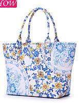 Fashion Women's Canvas Casual Shoulder Bag Retro Rucksack Messenger Bag Blue And White porcelain Handbag