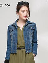 Women's Casual Slim Long Sleeve Short Jeans Coat