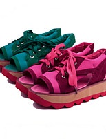 Zapatos de mujer - Tacón Plano - Punta Abierta - Sneakers a la Moda - Casual - Sintético - Negro / Rojo