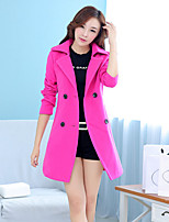 Women's Solid Pink/Green/Orange/Yellow Trench Coat , Vintage/Casual Long Sleeve Cotton/Wool Blends