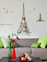 Wall Stickers Wall Decals, Watercolor Painting Eiffel Tower PVC Wall Stickers