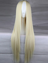 New Anime Cosplay Light Golden Carve Long Straight Hair Wig 80CM