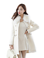 Women's Solid White/Black/Yellow Coat , Vintage/Party Long Sleeve Wool Blends