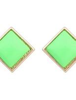 Women's Fine Fashion Simple Sweet Square Stud Earrings With Rhinestone