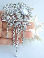 Wedding 4.53 Inch Silver-tone AB Clear Rhinestone Crystal Flower Bridal Brooch Pendant