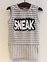 Stripe Sleeveless Letter Girls Short-sleeved Dress