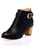 Zapatos de mujer - Tacón Robusto - Punta Redonda / Botas a la Moda - Botas - Vestido - Semicuero - Negro / Blanco / Beige