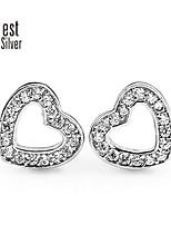 S925 Pure Silver Plating Platinum Diamond Stud Earrings Love R022