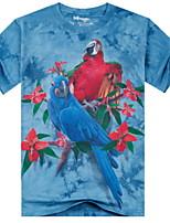 3D Printing Round Neck Short-sleeve Bandhnu Bird T-Shirt (Cotton)