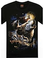 Men's 3D O-Neck Short-sleeve Wolves Printing T-Shirt (Cotton)