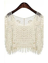Women's Vintage Sexy Casual Lace Cute Micro Elastic ½ Length Sleeve Short Shirt (Lace)