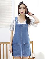 Women's Solid Blue Denim Dress , Vintage/Casual/Cute/Work Strap Sleeveless Pocket/Button