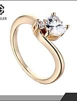Sjeweler Girls Promise 18k Gold Plate Simple Zircon Ring