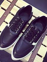 Chaussures Femme Similicuir Talon Plat Bout Pointu Baskets à la Mode Décontracté Noir/Blanc