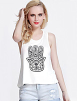 Women's Sexy Casual Inelastic Sleeveless Short Vest (Cotton)