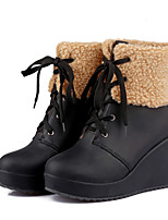 Women's Shoes Wedge Heel Combat Boots/Round Toe Boots Casual Black/Blue/Brown/Pink/Beige