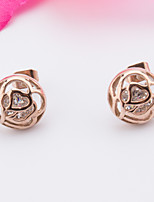 Woman's Stainless Steel Rose Gold Earrings