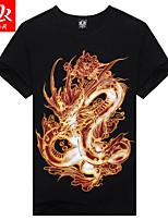 Men's Casual Print Short Sleeve Regular 3D Black Summer T-Shirt (Cotton/Lycra)