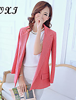 Women's Solid Blue/Red/White Blazer , Sexy/Cute/Party/Work V Neck Long Sleeve