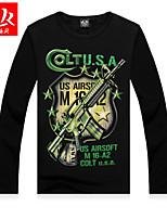 Men's Casual/Sport Print Long Sleeve Regular T-Shirt (Cotton Blend)