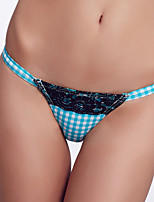The Fille Women's Sexy Black Lacy /Color Block/Low Rise/Blue White Stripes/ Triangle Bikini Panties