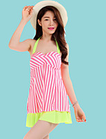 Women's Halter One-pieces , Color Block Polyester Pink/Blue