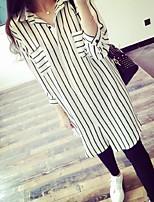 Women's Striped White/Black Shirt , Shirt Collar ¾ Sleeve