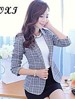 Women's Geometric Pink/Gray Blazer , Sexy/Cute/Party/Work V Neck Long Sleeve