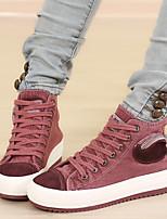 Zapatos de mujer - Tacón Plano - Creepers / Punta Redonda - Sneakers a la Moda - Exterior / Casual - Tela - Negro / Bermellón