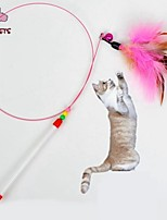 FUN OF PETS® Lovely Multicolour Beads and Feather Shaped Playing Stick for Pet Cats