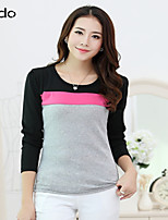 Women's Patchwork/Color Block Blue/Red/White/Black/Gray T-shirt Long Sleeve