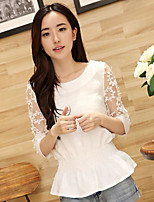 Women's Solid White Blouse , Round Neck ½ Length Sleeve Mesh