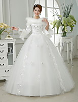 Ball Gown Floor-length Wedding Dress -Off-the-shoulder Satin