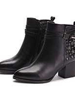 Zapatos de mujer - Tacón Robusto - Puntiagudos / Botas a la Moda - Botas - Exterior / Casual - Cuero - Negro