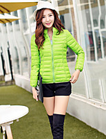 Women's Slim Thin Long Sleeve Short Hooded Down Coat , Casual/Cute/Work Cotton/Polyester/Feather