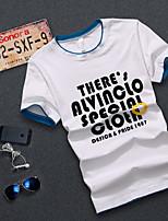 Men's Casual/Work/Formal/Sport/Plus Sizes Print/Pure Short Sleeve Regular T-Shirt (Cotton)