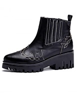 Women's Shoes Leather Chunky Heel Fashion Boots/Bootie/Comfort/Pointed Toe/Closed Toe Boots Outdoor Black/Brown