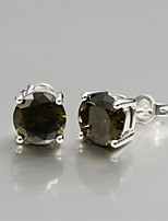 2015 Italy Style Silver Plated Stud Earrings for Lady with Brown Zircon