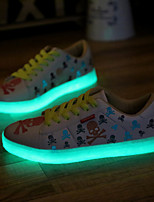 Men's Fluorescent Shoes Athletic / Casual Leather / Tulle Fashion Sneakers / Athletic Shoes Black / White