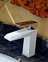 Contemporary White Painting One Hole Single Handle  Bathroom Sink Faucet