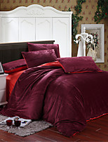 H&C 100% Velvet 800TC Duvet Cover Set 4-Piece Two Solid Colors Joint HT8
