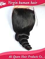 ali queen productos para el cabello brasileño suelta cordón de la onda 8-20inch cierre 4x4, los cierres de la armadura del pelo humano sin