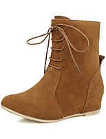 Women's Shoes Fleece Wedge Heel Fashion Boots/Round Toe Boots Dress Black/Yellow/Red/Beige