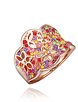 Sweet Flower Shape  Environmental Protection Material Alloy Ring (Gold Palting,Rose Gold Plating)(1Pc)