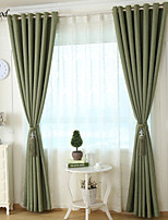 (One Panel) Modern Dark Green Linen Blackout Curtain