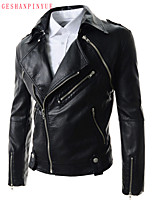 2015 Men's Leather Coat Lapels, Detachable Cultivate One's Morality Personality