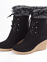 Women's Shoes Wedge Heel Wedges Boots Outdoor/Casual Black/Blue/Burgundy